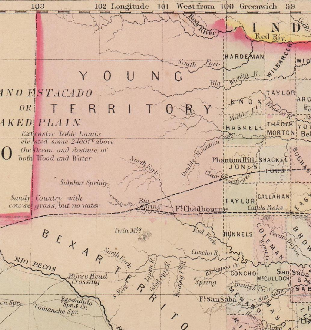 County Map of Texas, S. A. Mitchell, 1860 - 2