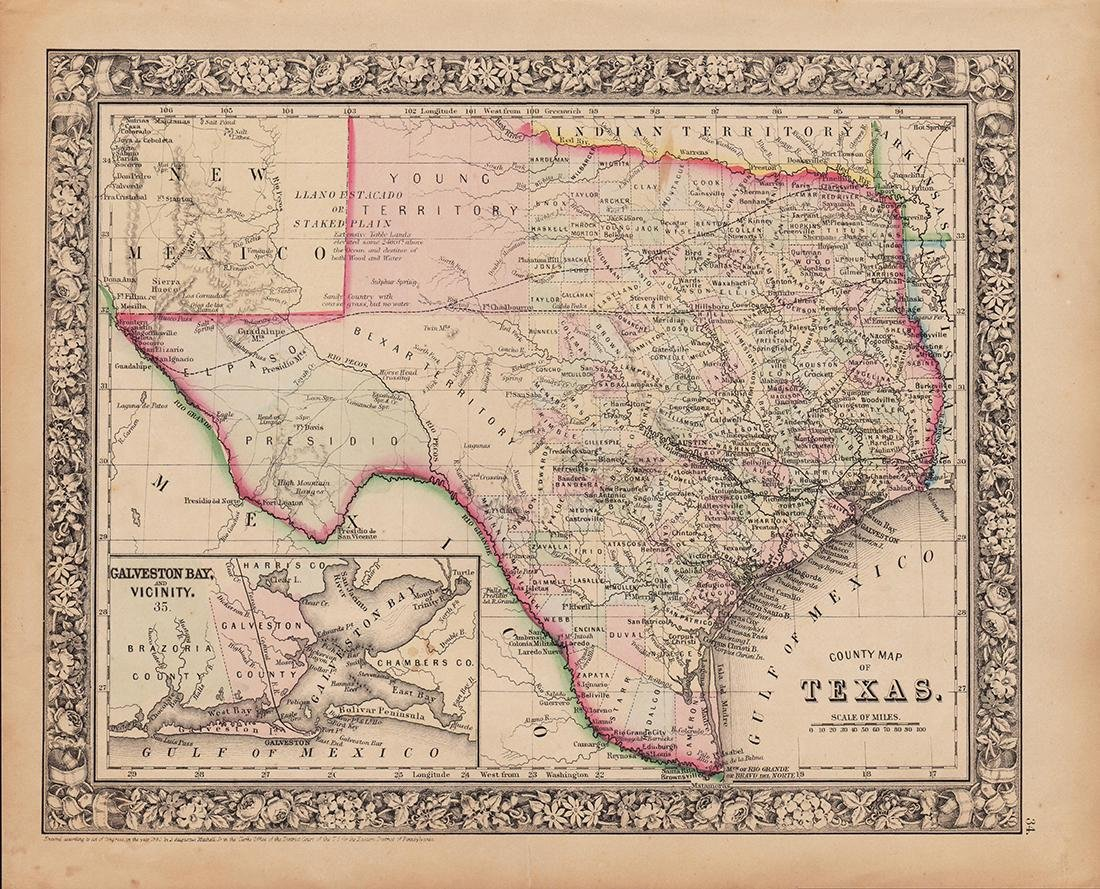 County Map of Texas, S. A. Mitchell, 1860 - 4