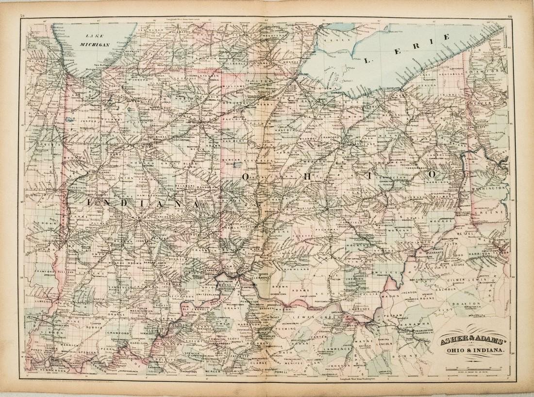 1872 Asher and Adams Map of Ohio and Indiana -- Asher &