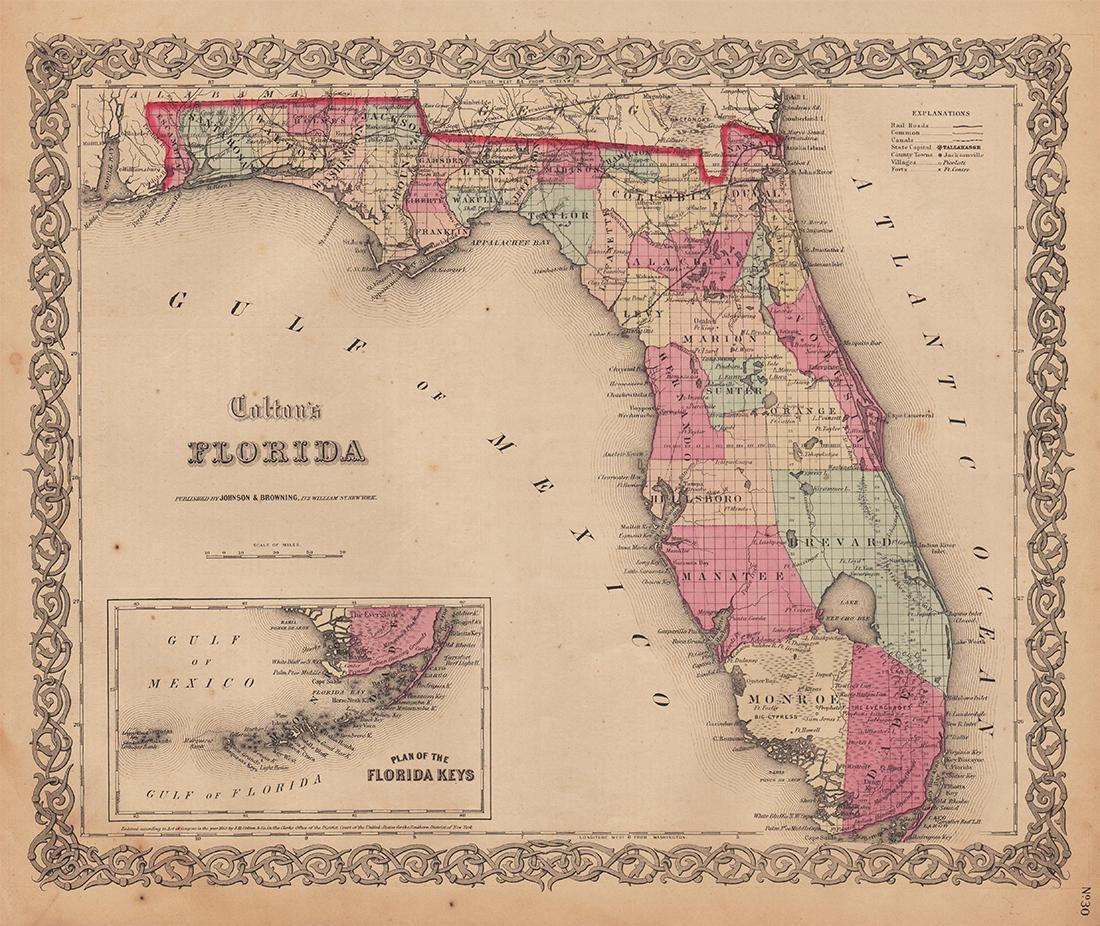 Colton's 1855 Florida – Johnson & Browning
