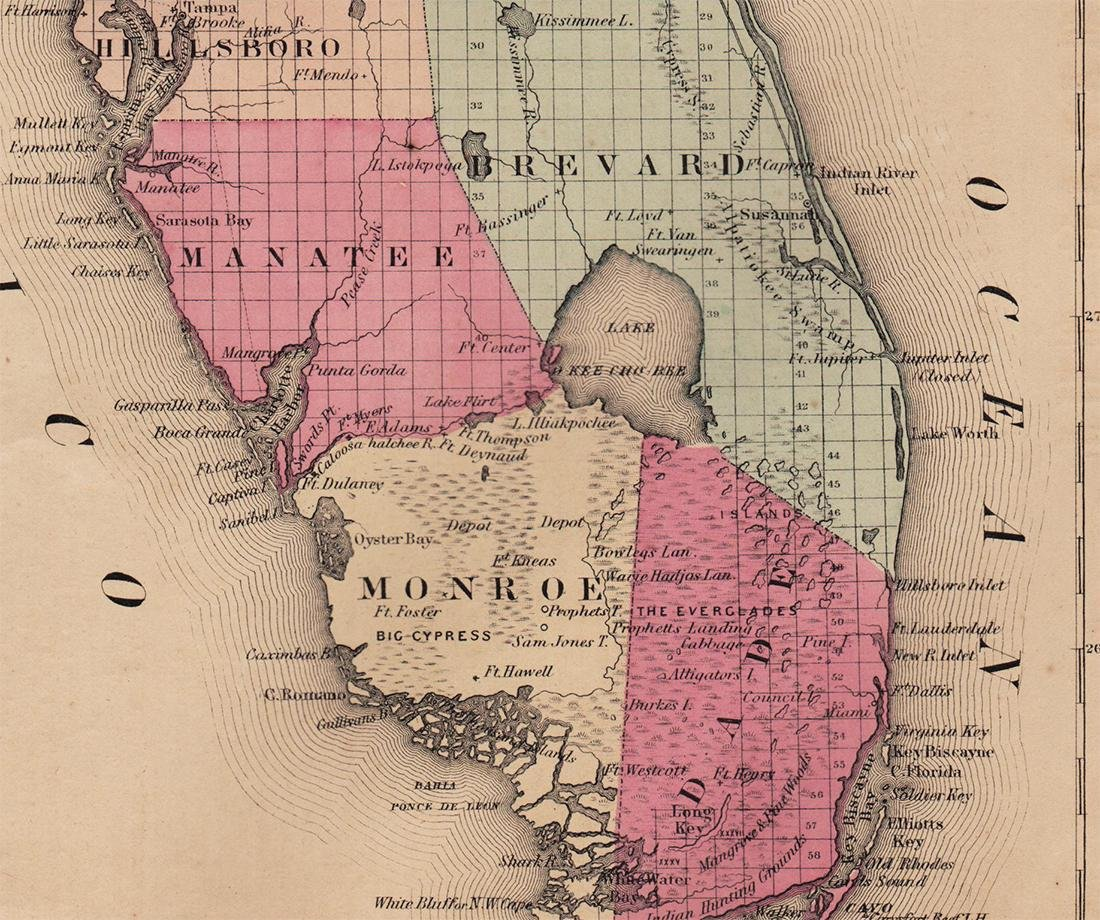 Colton's 1855 Florida – Johnson & Browning - 2