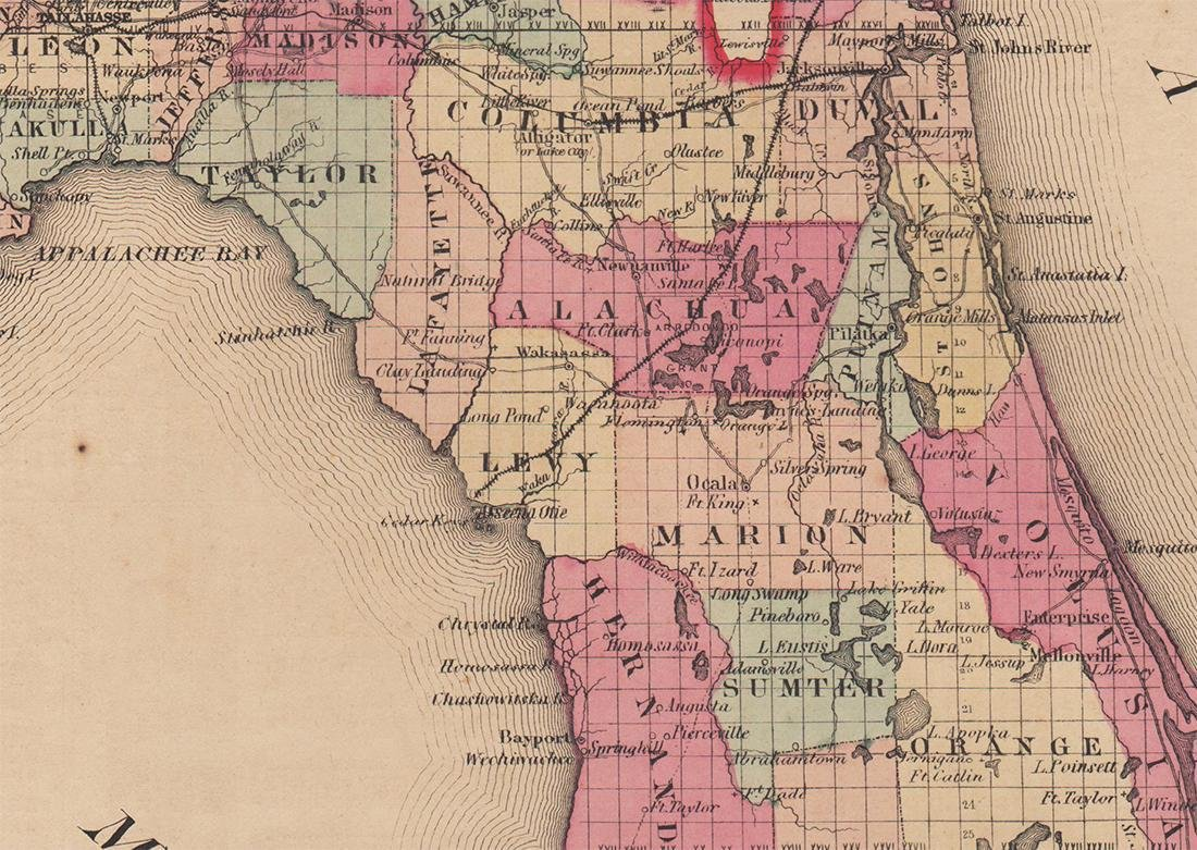 Colton's 1855 Florida – Johnson & Browning - 3