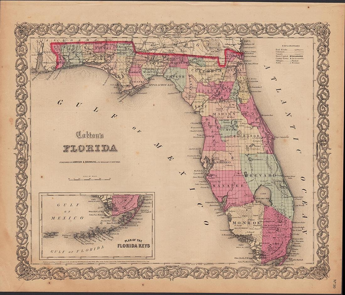 Colton's 1855 Florida – Johnson & Browning - 4