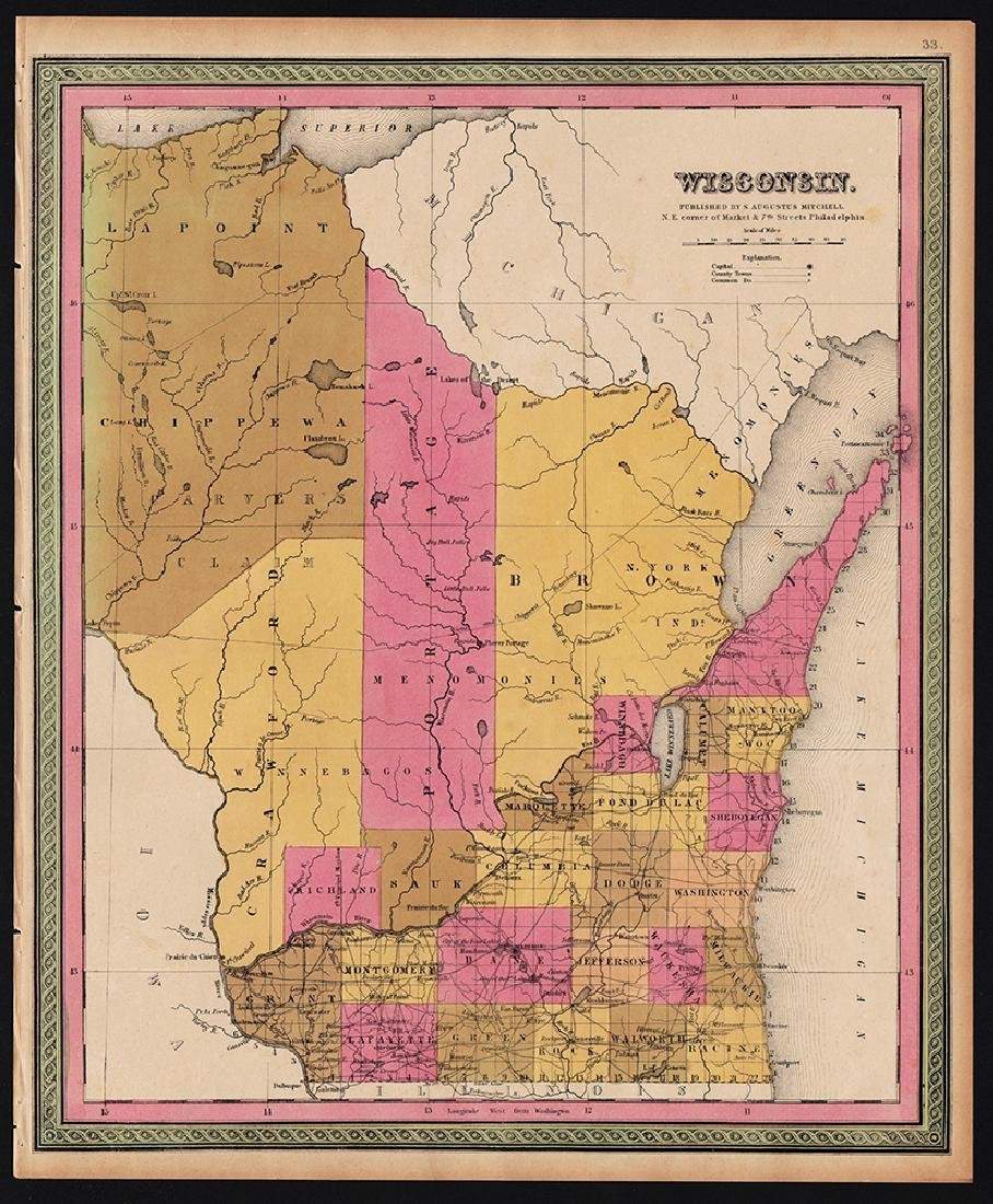 Scarce 1848 map of Wisconsin by S. Augustus Mitchell