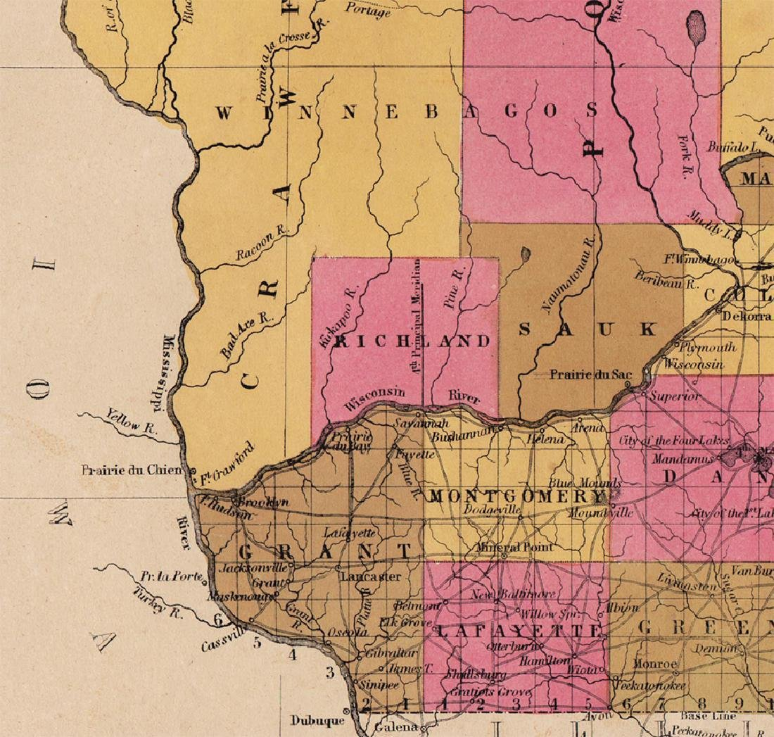 Scarce 1848 map of Wisconsin by S. Augustus Mitchell - 4