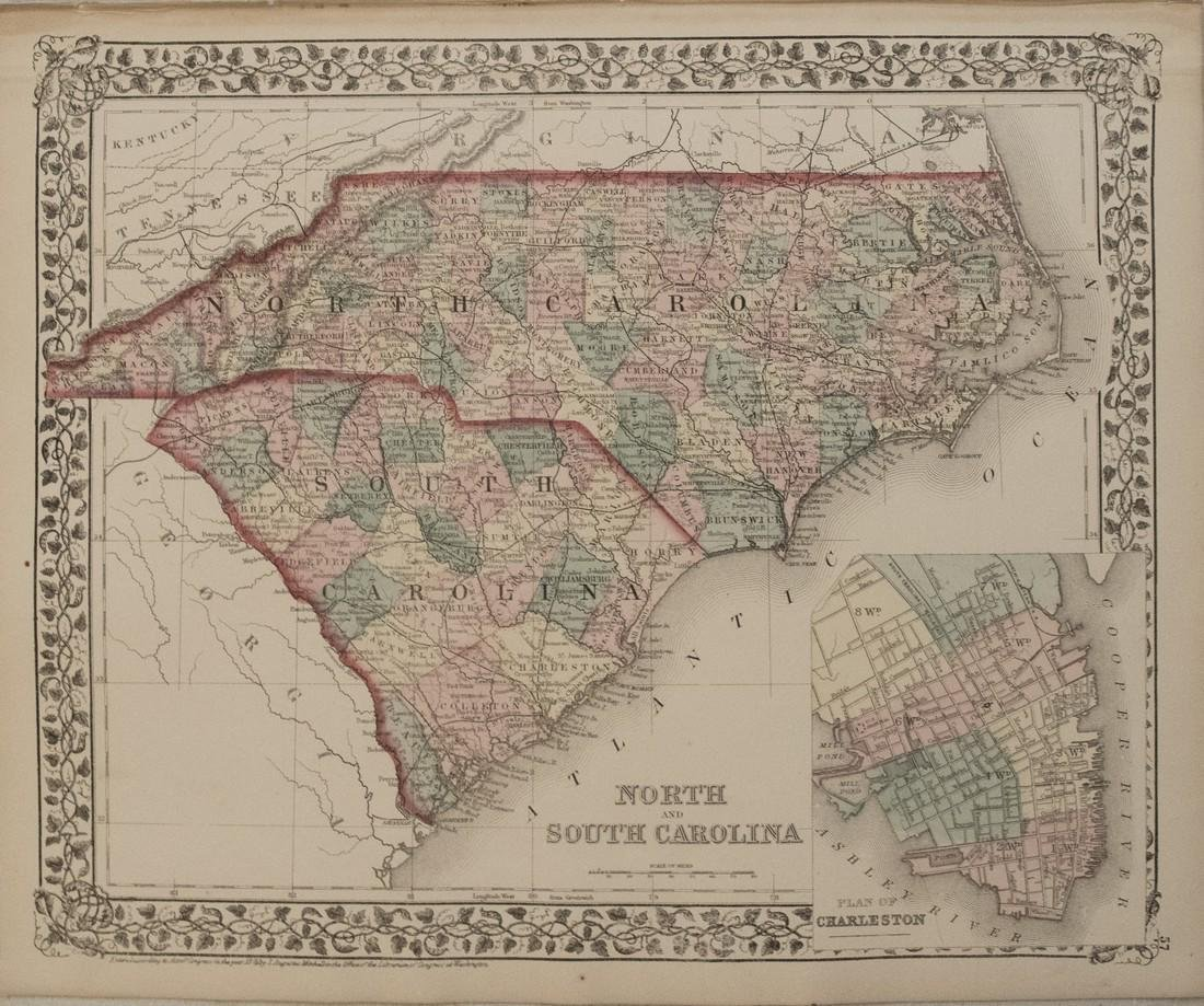1876 Mitchell Map of North and South Carolina -- North