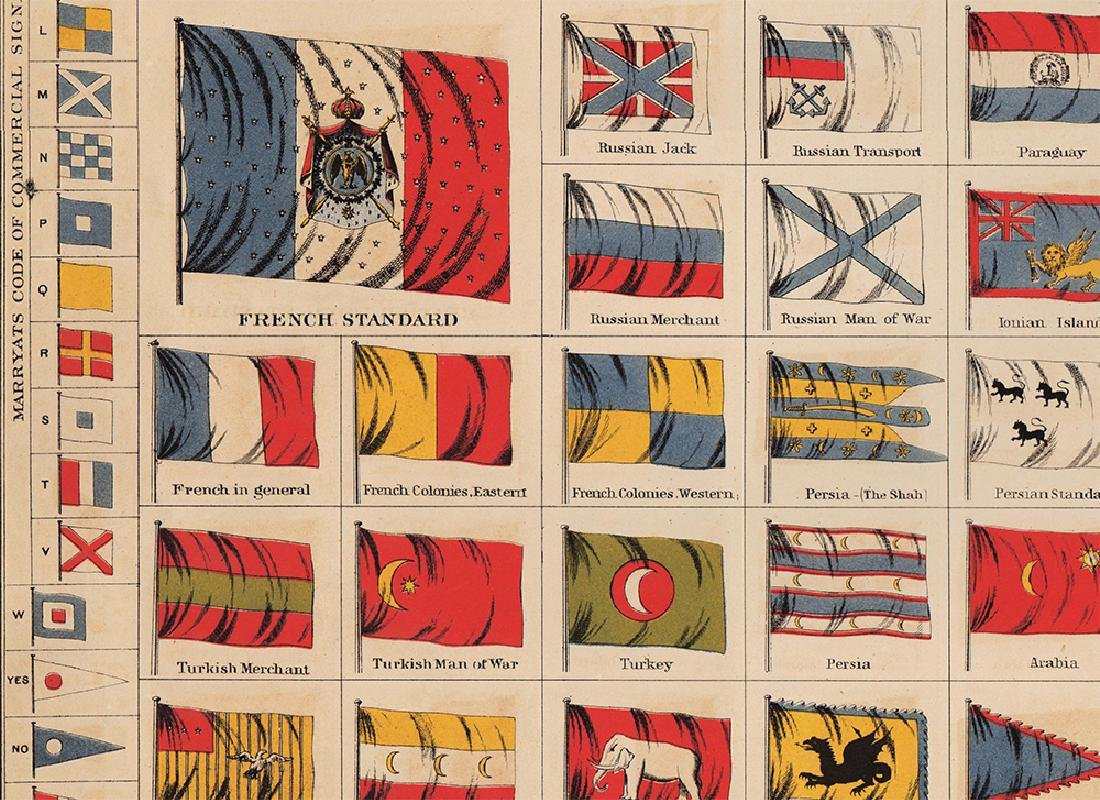 Scarce Colton's Flags of Nations - fine cond., 1868 - 3