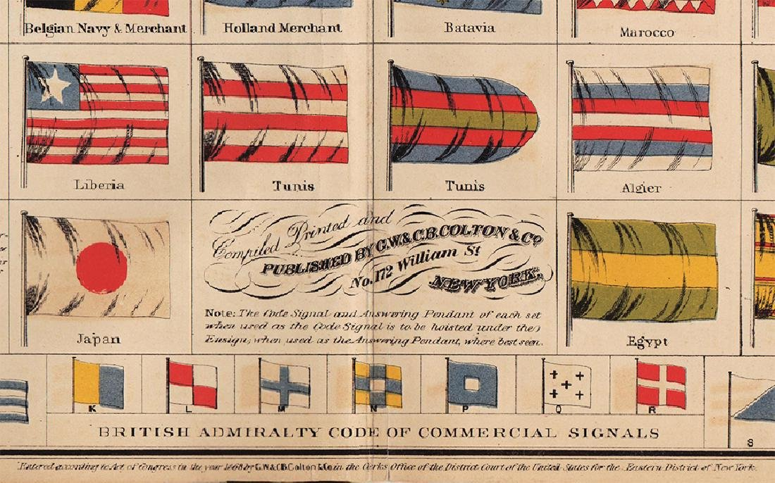 Scarce Colton's Flags of Nations - fine cond., 1868 - 4