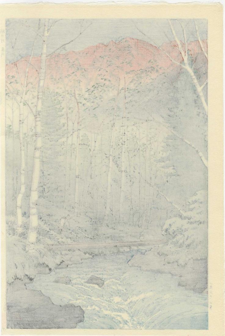 Takashi Ito Woodblock Dawn at Dakegawa, Japanese Alps - 2