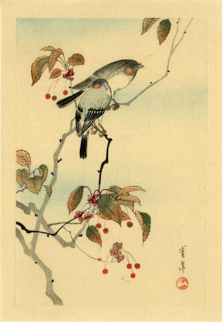 Keinen Imao Woodblock Bullfinches on a Cherry Tree