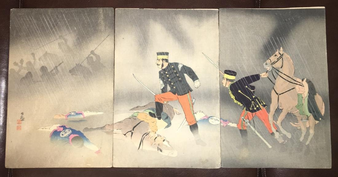 Kiyochika Woodblock the Heroic Fight of Cavalry Scout