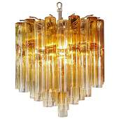 Venini Four-Tier Chandelier with Amber Murano Glass