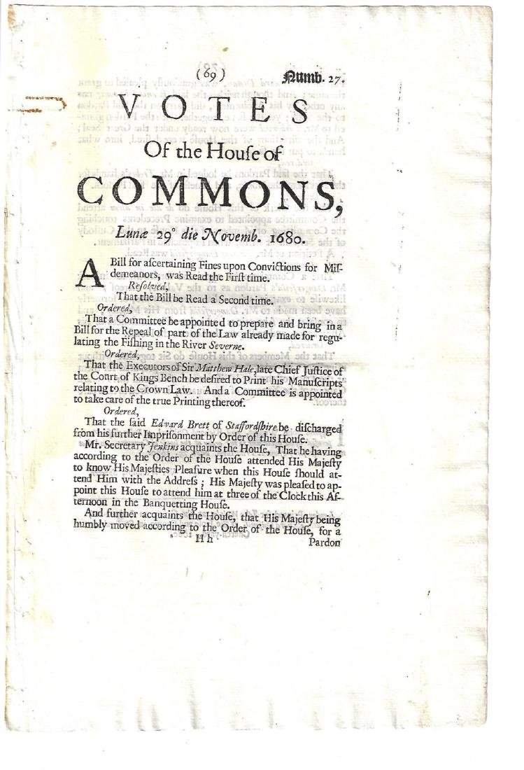 1680 Votes of House of Commons Periodical