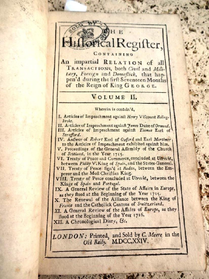 1724 Historical Register Colonial America