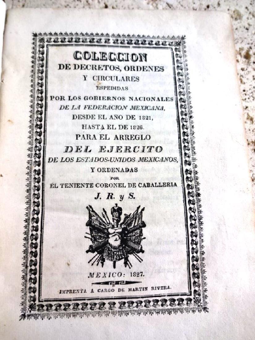 1827 Mexican Imprint Colecion De Decretos Military