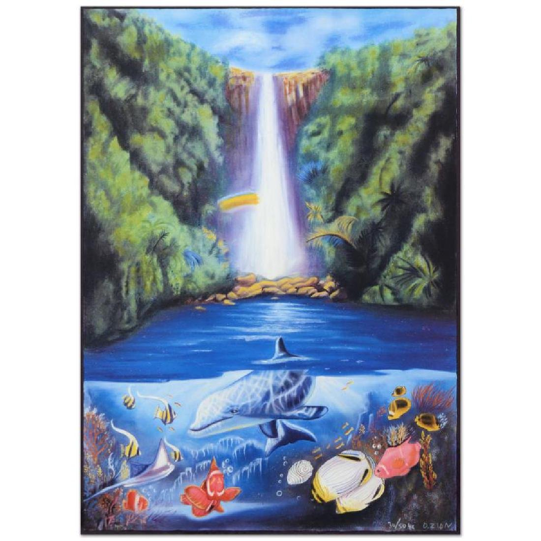 "David Zion, ""Rain Fall"" Limited Edition Mixed Media,"