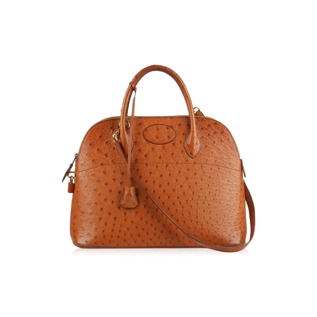 Hermes Vintage 1992 Tan Ostrich Bolide 35 Bag