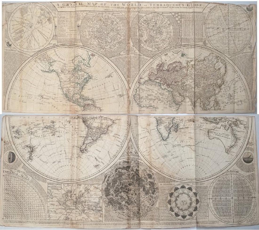 1787 Dunn Map of the World on Two Hemispheres and