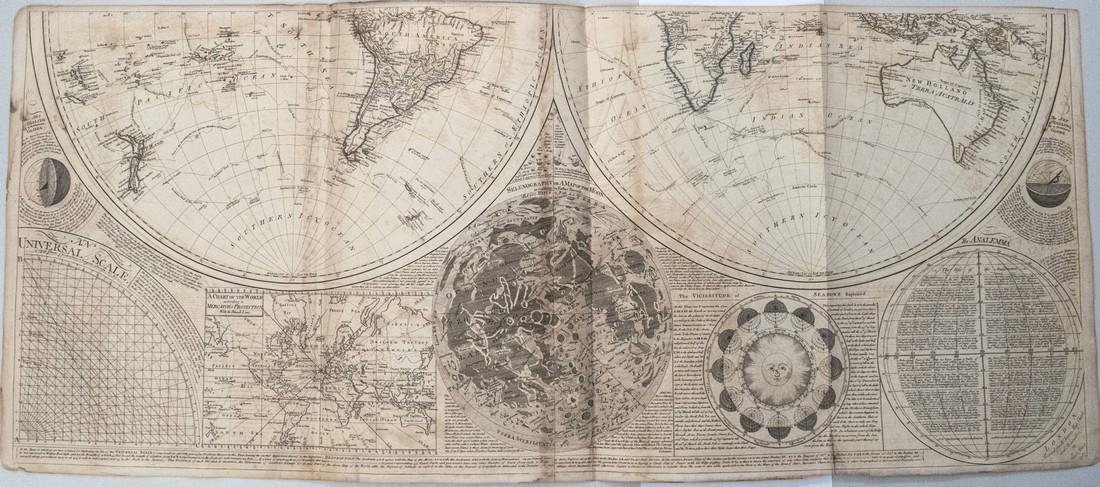 1787 Dunn Map of the World on Two Hemispheres and - 3