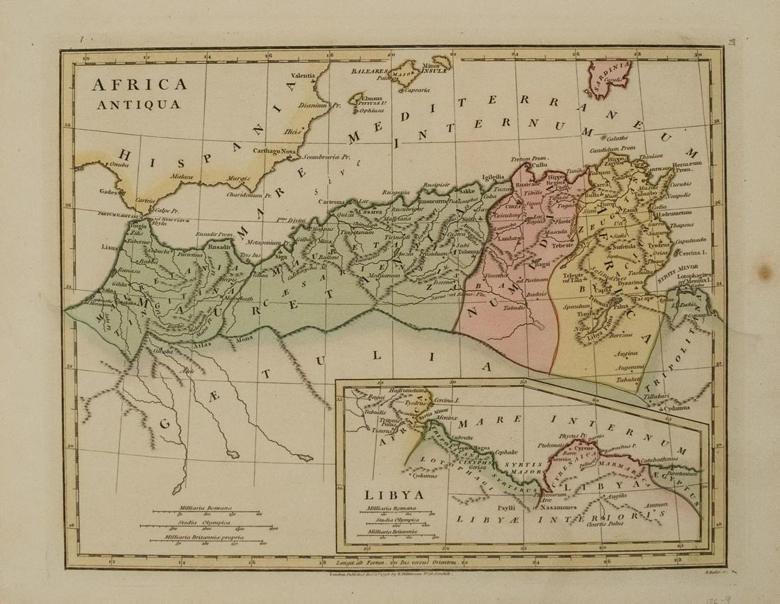 1798 Wilkinson Map of Northern Africa in Ancient Times