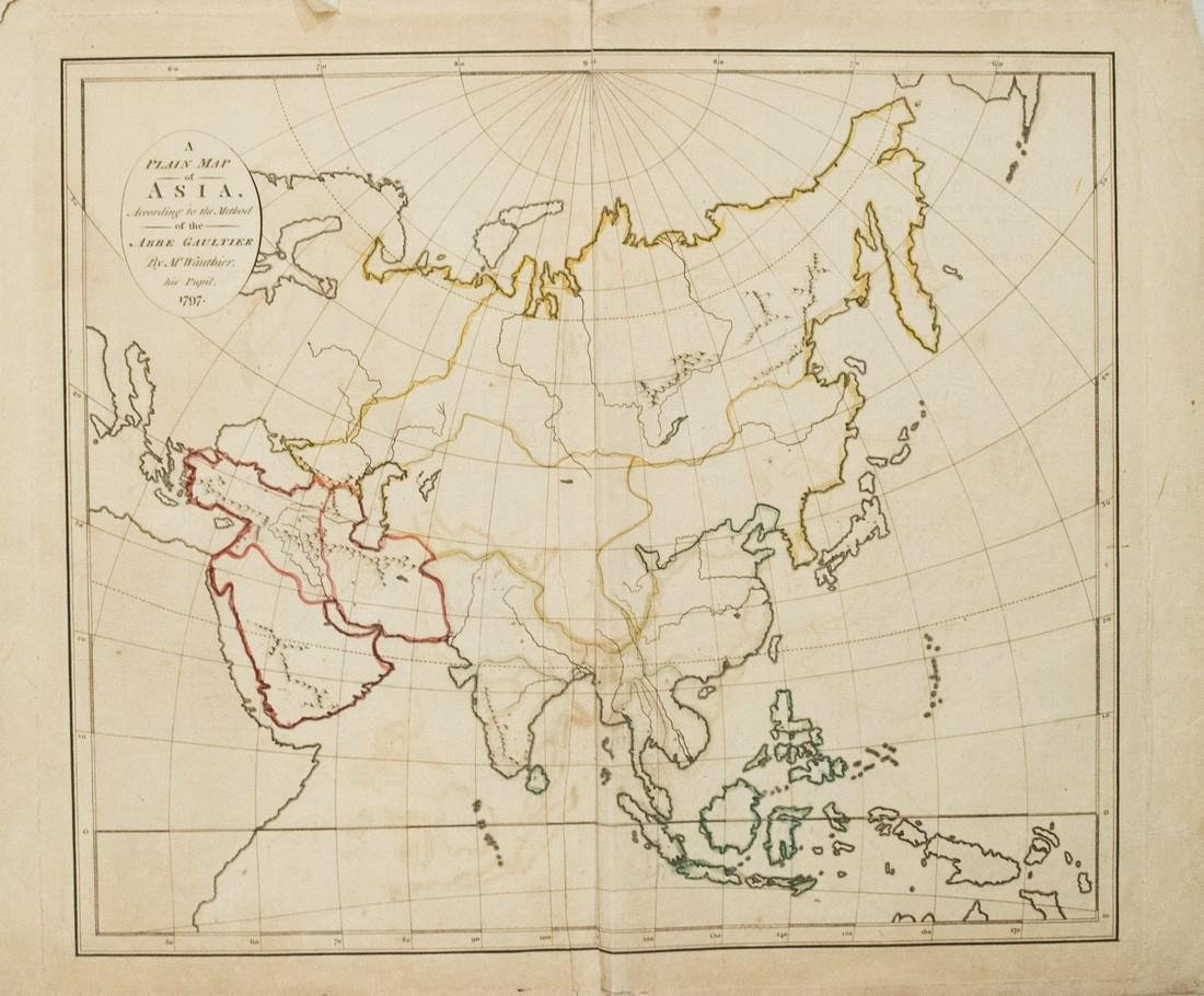 1797 Gaultier Map of Asia -- A Plain Map of Asia