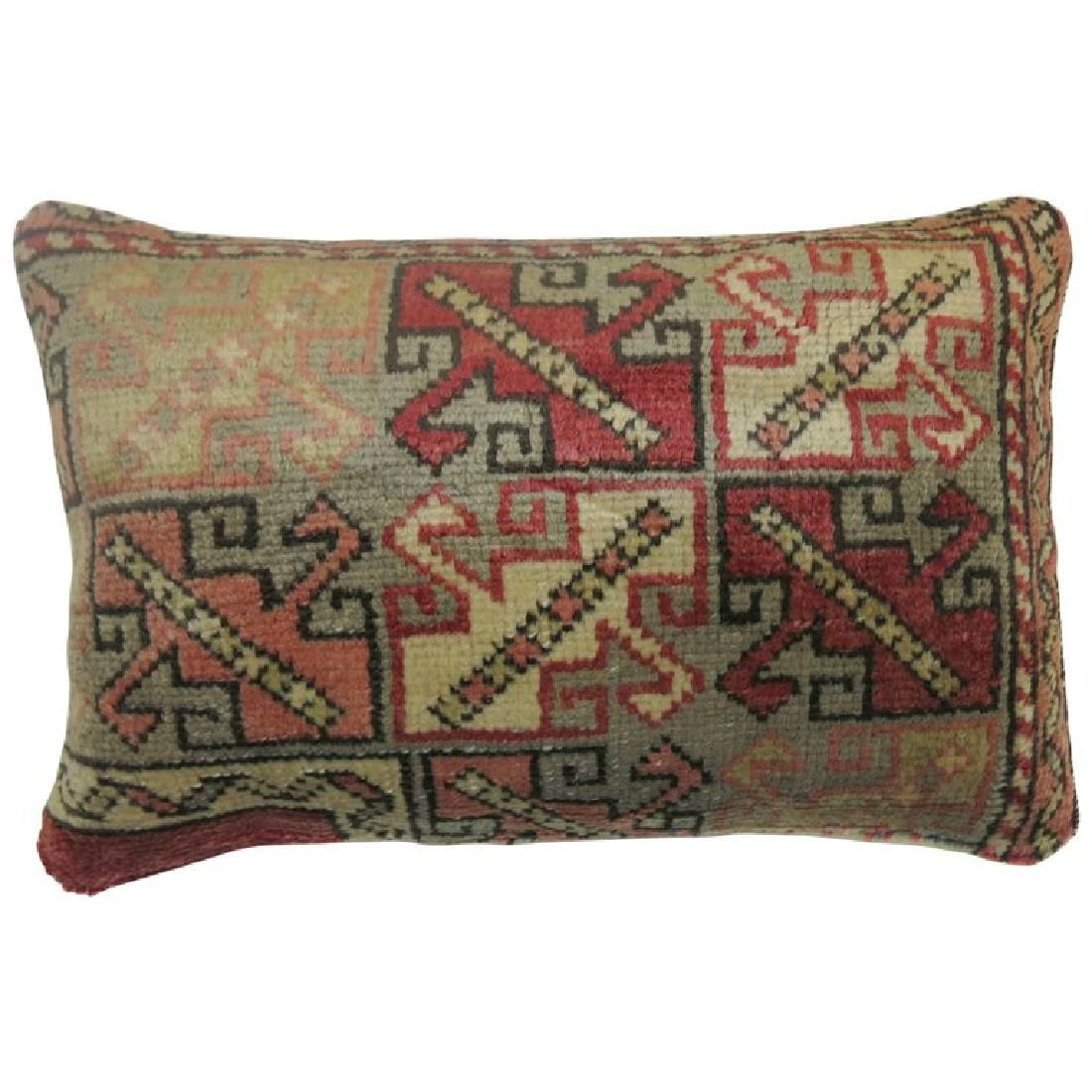 Vintage Turkish Lumbar Rug Pillow