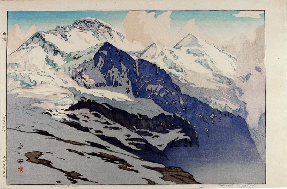 YOSHIDA, Hiroshi Woodblock The Jungfrau' (in the Swiss