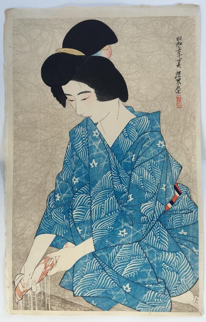 Ito Shinsui Woodblock After the bath. Date: Summer,