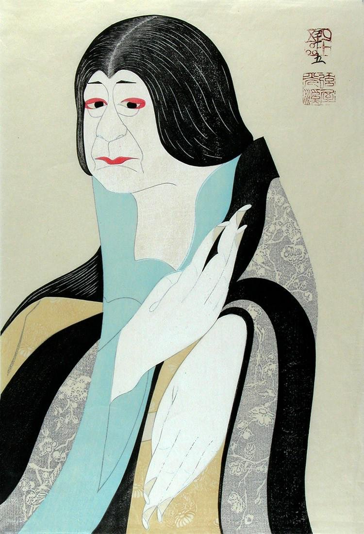 Tsuru-ya KOKEI Woodblock The actor Onoe Baiko VII