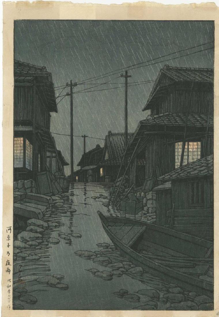 Hasui Kawase Woodblock Night Rain at Kawarako, Ibaraki