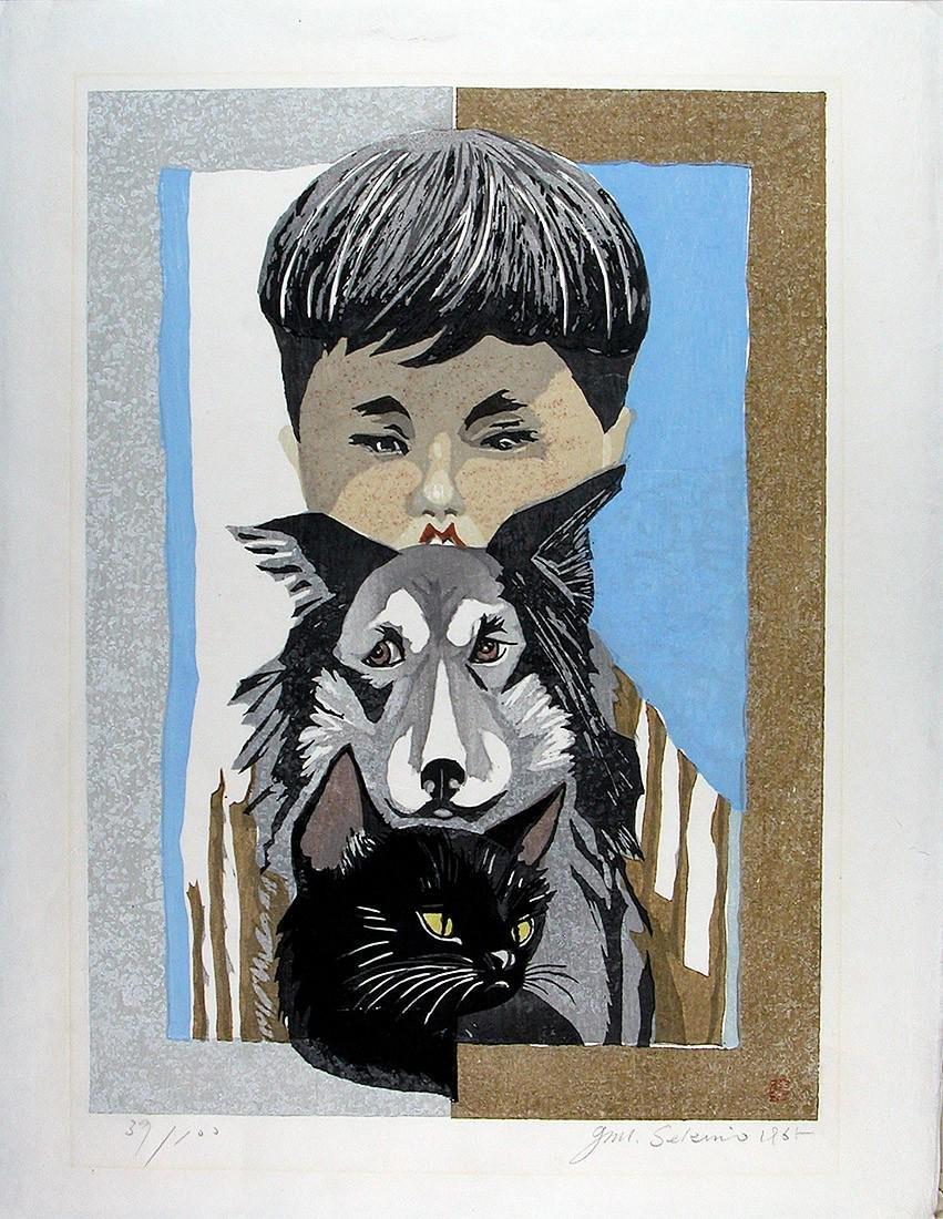 SEKINO Jun'ichiro First Edition Woodblock Boy Dog Cat