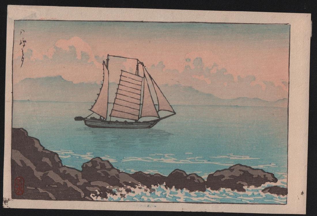 Kawase Hasui Woodblock Sailboat near Rocky Coastline