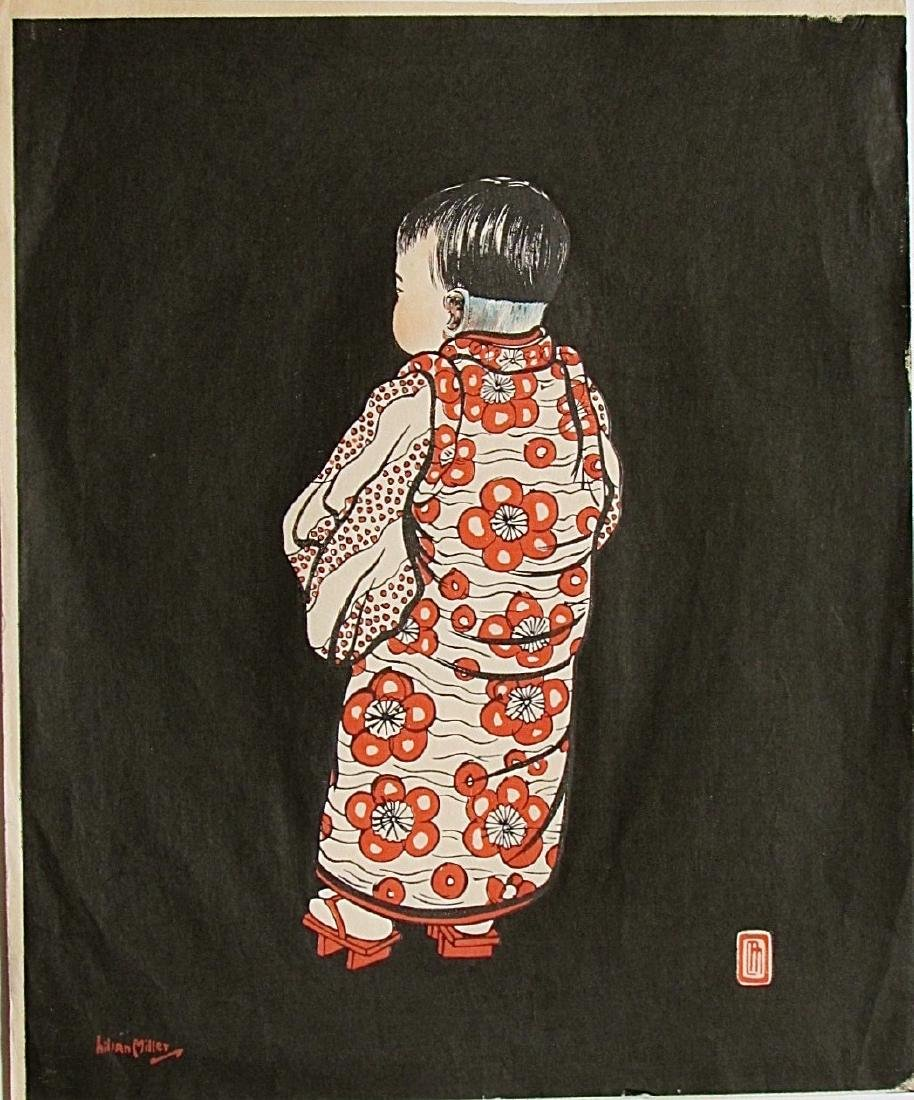 Lillian May Miller Woodblock Young Girl from the Back