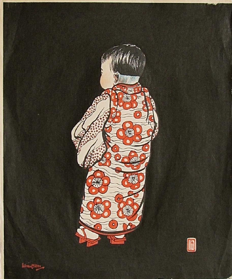 Lillian May Miller Woodblock Young Girl from the Back - 2