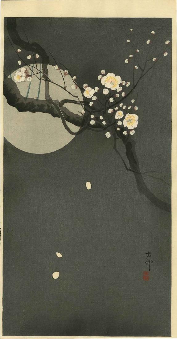 Koson Ohara Woodblock Full Moon and Blossoms