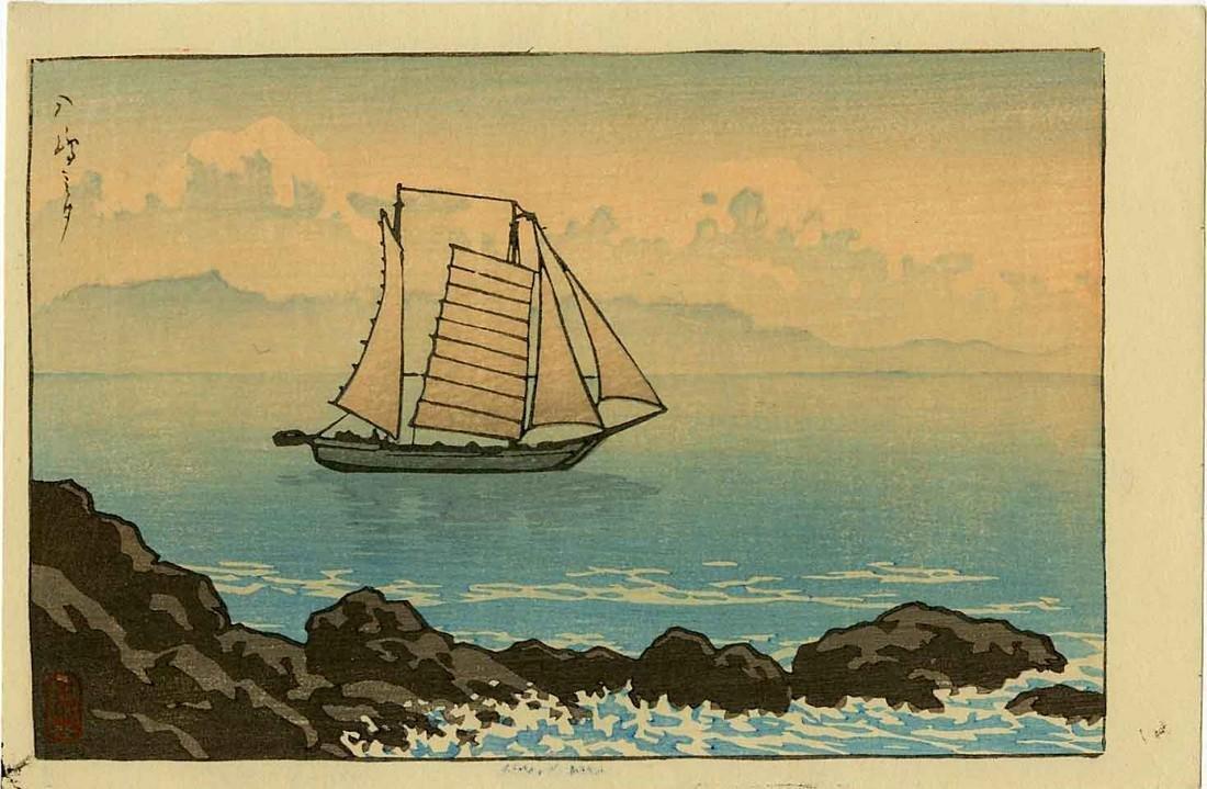 Hasui Kawase Woodblock Evening at Yashima