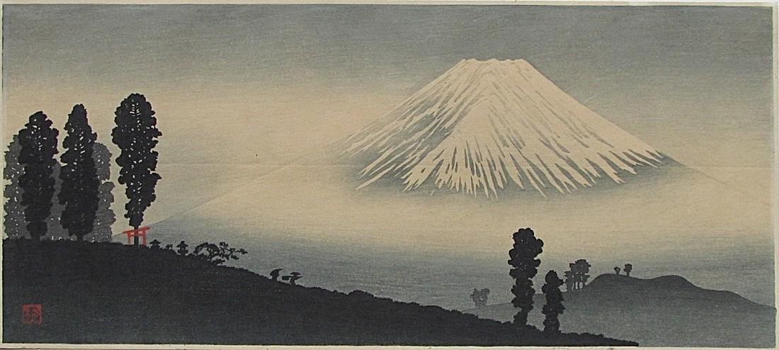 Shotei Woodblock Mt. Fuji in the mist