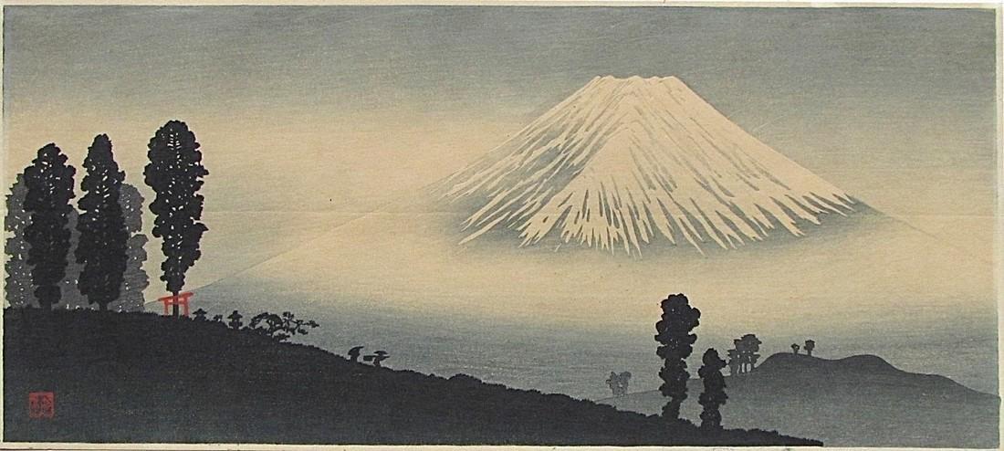 Shotei Woodblock Mt. Fuji in the mist - 2