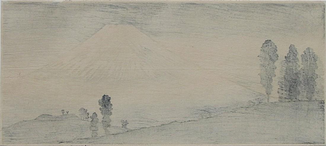 Shotei Woodblock Mt. Fuji in the mist - 3
