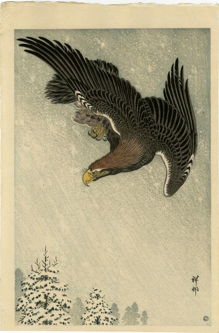 Koson Ohara Woodblock Eagle Flying in Snow Storm