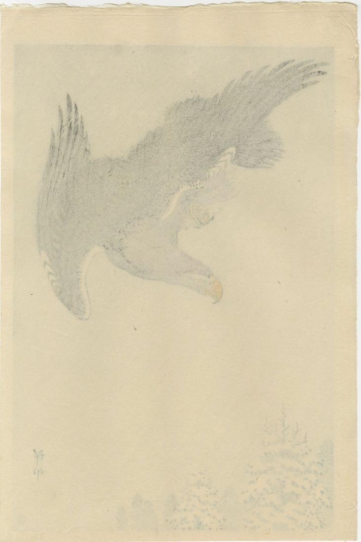 Koson Ohara Woodblock Eagle Flying in Snow Storm - 2