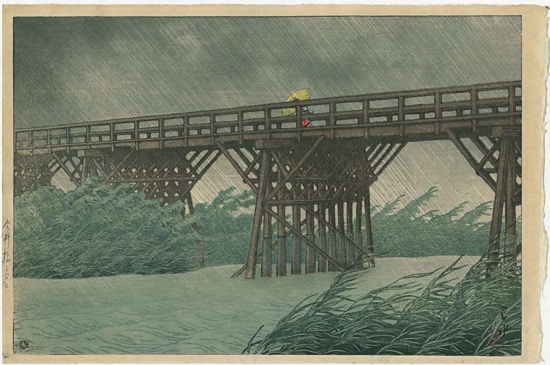 Hasui Kawase Woodblock Evening Shower Imai Bridge
