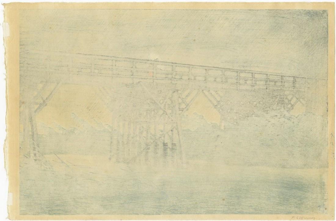 Hasui Kawase Woodblock Evening Shower Imai Bridge - 2