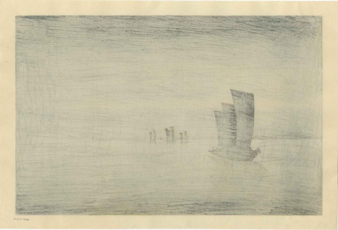 Koson Ohara Woodblock Sailing Ships at Sunset - 2