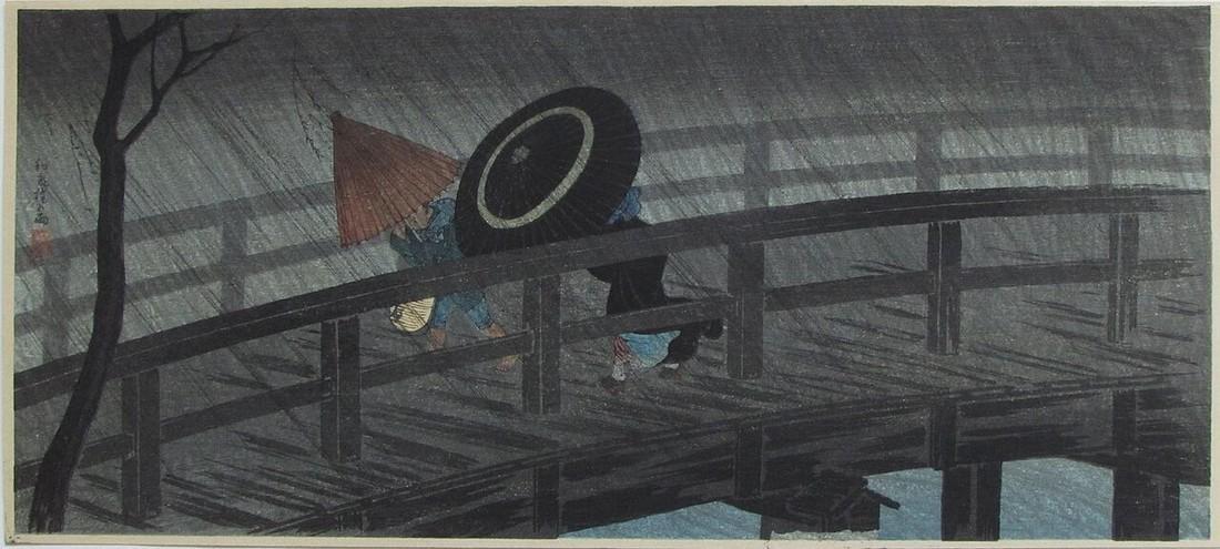 Shotei Woodblock Night Shower at the shower bridge