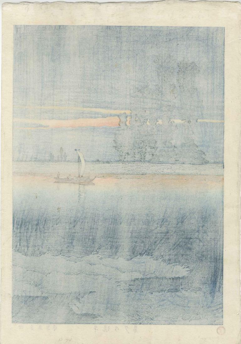 Kawase Hasui Woodblock Dusk at Ushibori - 2
