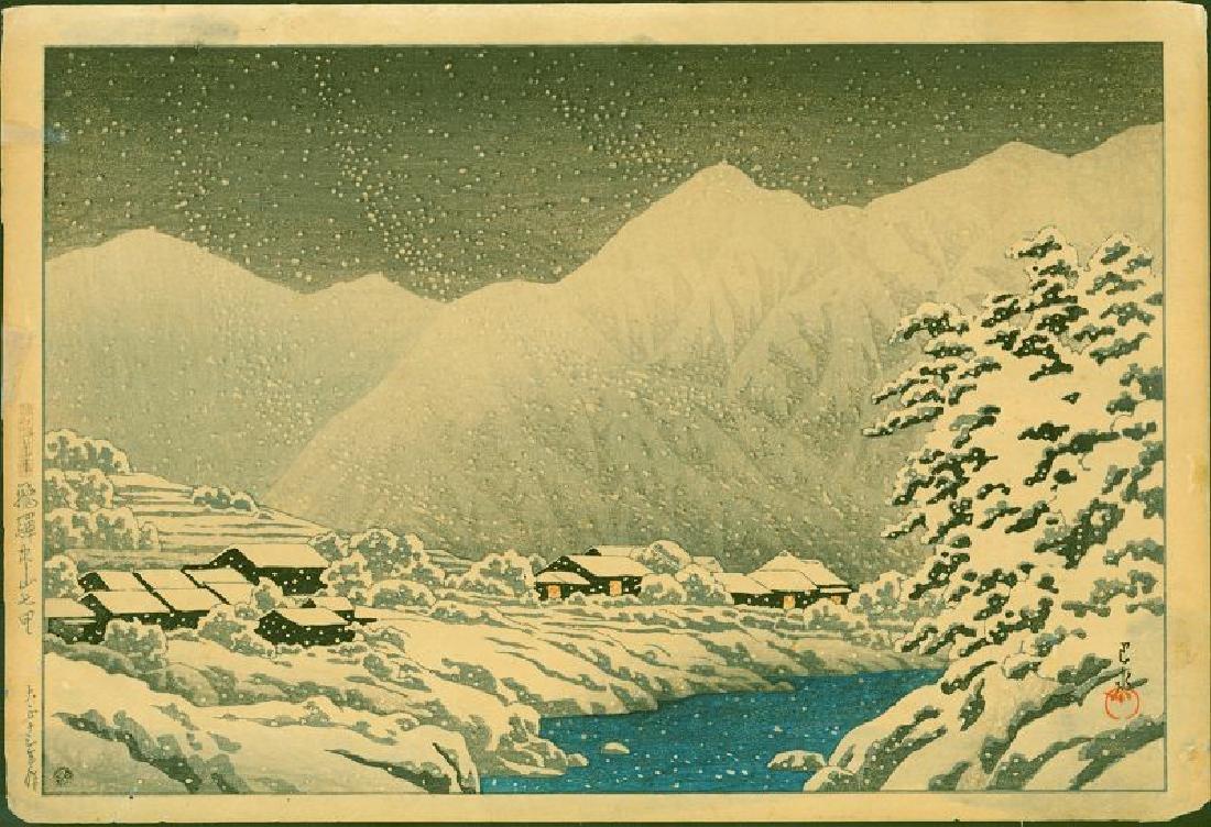 Hasui Kawase Japanese Woodblock Print - In the Snow,