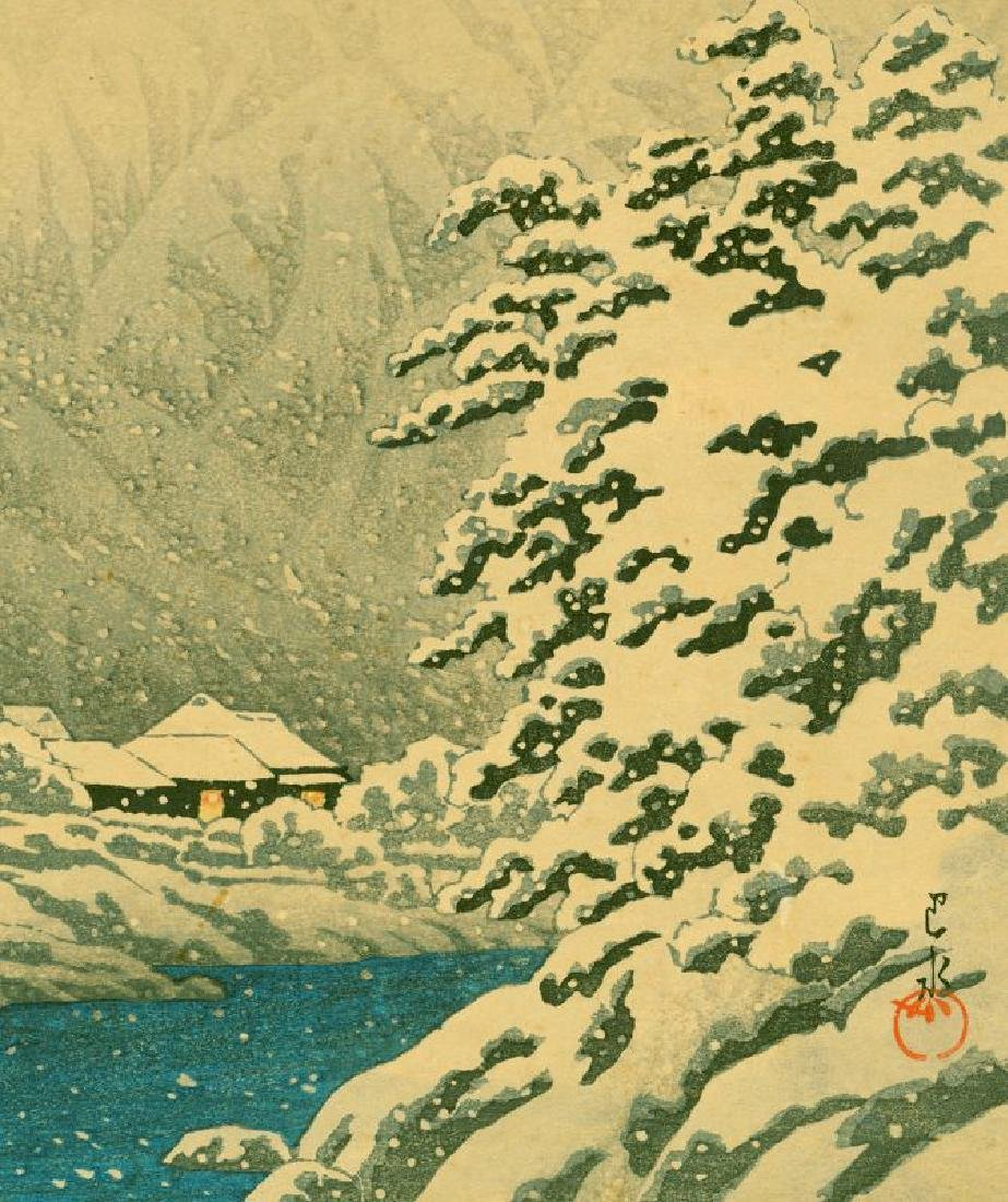 Hasui Kawase Japanese Woodblock Print - In the Snow, - 2