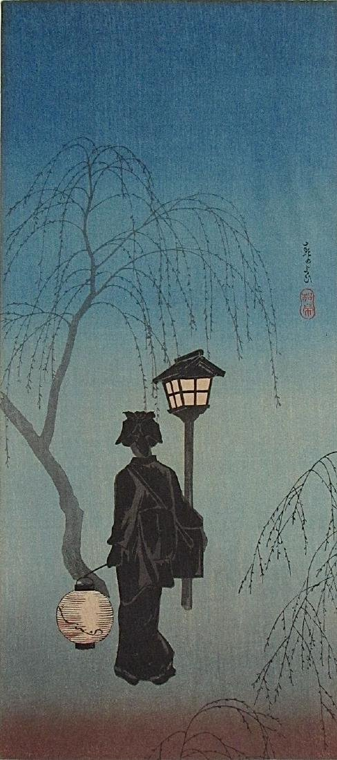 Shotei Woodblock Spring Evening