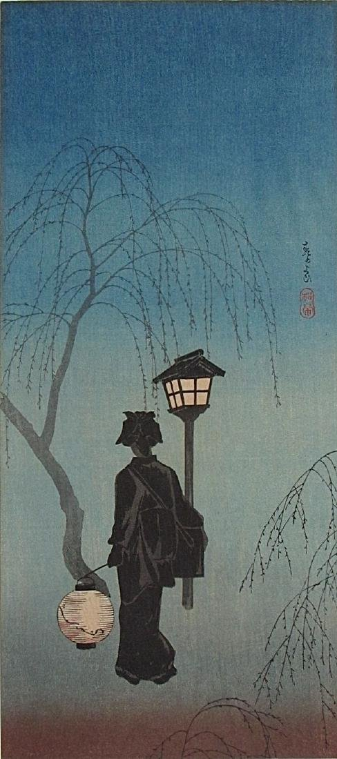 Shotei Woodblock Spring Evening - 2